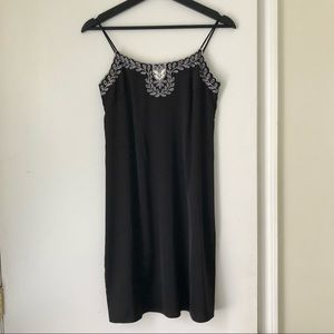 AQUA Embroidered Satin Slip Dress